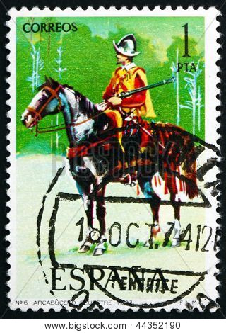 Postage Stamp Spain 1973 Harquebusier On Horseback