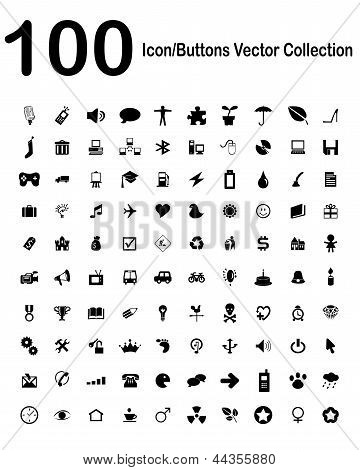 100 Icon-buttons Vector Collection
