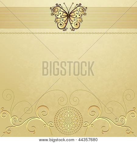 Old Grunge Paper With Gold Butterfly