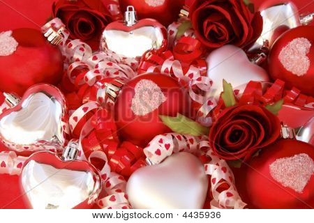 Red Satin Balls, Silver Hearts With Roses And Ribbon.