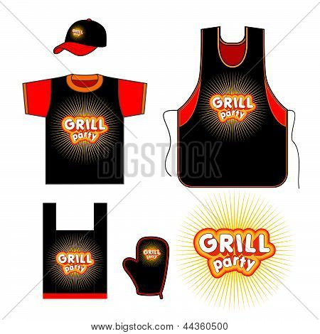 Grill party kitchen set design.