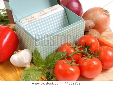 Recipe Box With Ingredients For Spaghetti