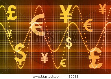Orange Global Currency Business Abstract Background