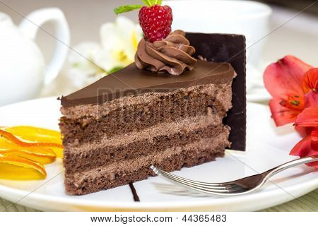 dessert on a table with tea