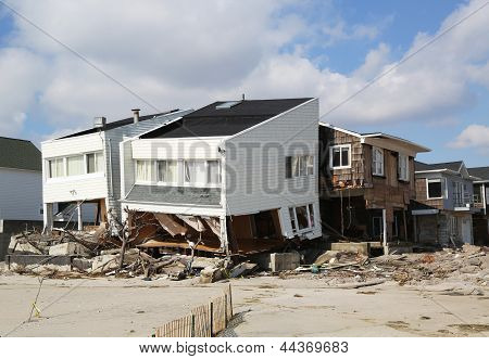 Destroyed beach house three months after Hurricane Sandy
