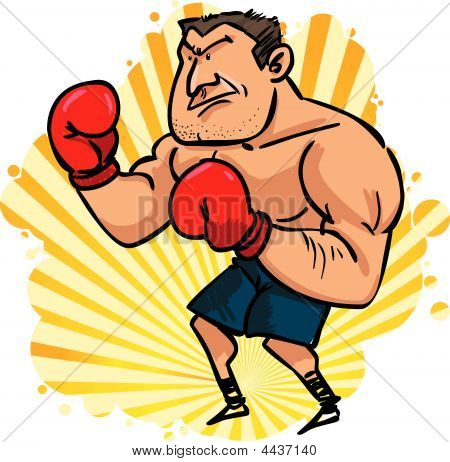 Champion Man With Red Boxing Gloves