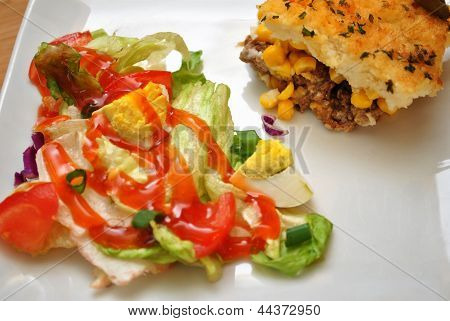 Appetizing Salad and Shepards Pie
