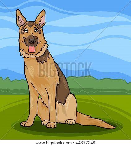 Ilustración de dibujos animados de perro de Pastor Alemán