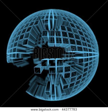 Under Construction Ball Made Of Rectangular Parts (3D Xray Blue Transparent)