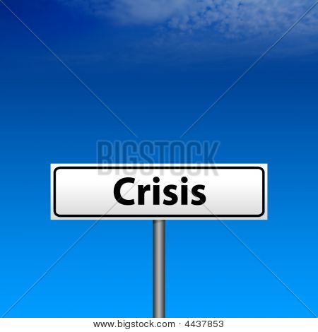 White Crisis Direction Sign And Blue Sky Background