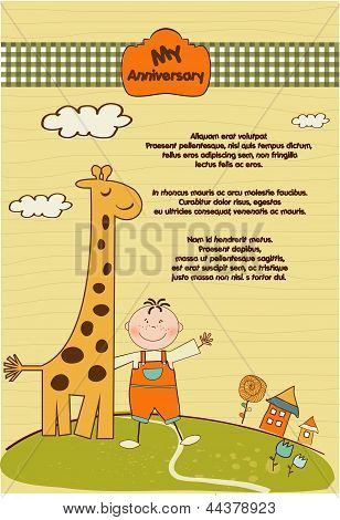 Customizable Anniversary Card With Giraffe And Baby Boy