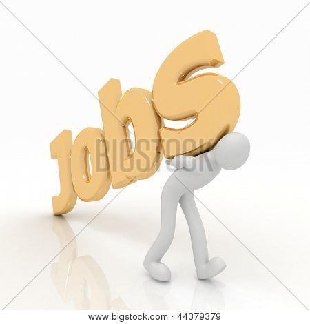 3d man carrying heavy jobs sign