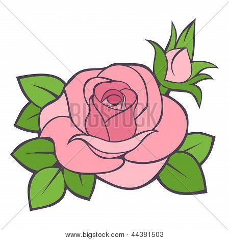 Pink rose. Vector illustration.