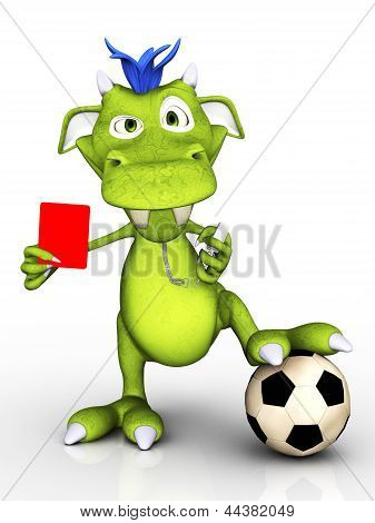 Cartoon Monster As Soccer Referee.