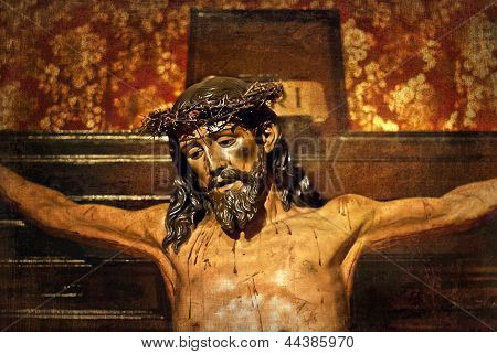Jesus on the cross, carved in polychrome wood, Valladolid, Spain