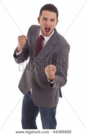 Business Man With Fighting Fists