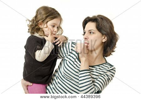 Mother And Daughter Sucking Thumb