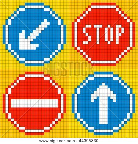 8-bit Pixel Road Traffic Signs