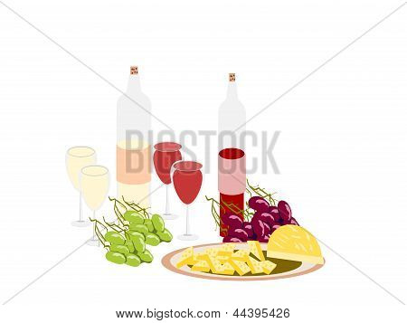 wine cheese grapes