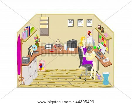 single woman working in cubicle office