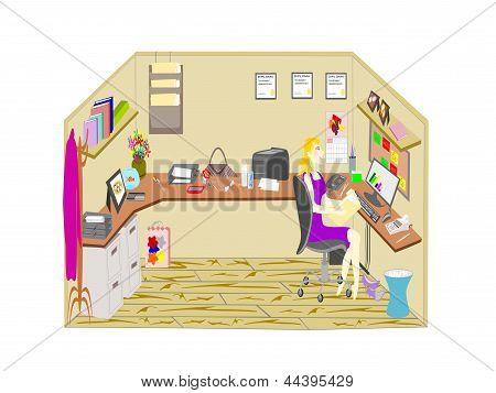 mujer soltera que trabaja en la oficina cubículo