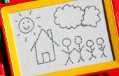picture of nuclear family  - Nuclear family sketch on magnetic drawing board - JPG