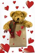 foto of mating bears  - Valentines teddy bear in shopping bag on isolated background - JPG