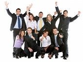 picture of thumbs-up  - Business team with arms and thumbs up isolated over a white background - JPG
