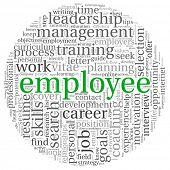 Employee and recruitment concept in word tag cloud on white