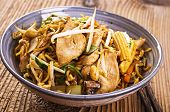 stock photo of soy sauce  - stir fried chicken and noodles - JPG