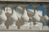 stock photo of neoclassical  - neoclassical ionic architectural details of lime stone - JPG