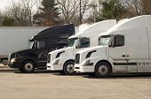 stock photo of 18 wheeler  - Truck trailers on rest area at I - JPG