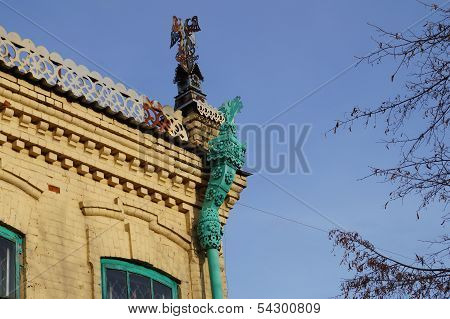 Decorative rainwater funnel on the roof