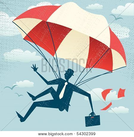 Abstract Businessman Uses His Parachute.eps