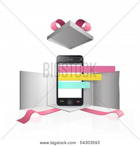 Realistic Phone With Colorful Select Button Inside Gift Box. Vector Design.