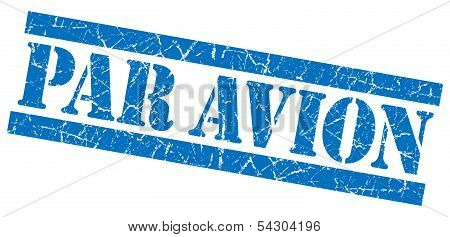 Par Avion Grunge Blue Stamp