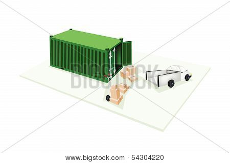 Hand Truck Loading Corrugated Cardboard Into Container