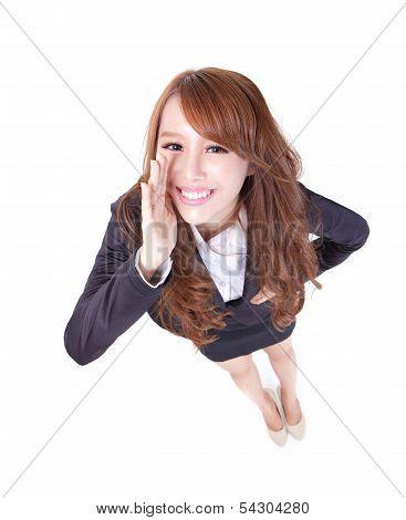 Happy Business Woman Shout