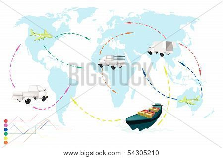 A World Travel Map Of Transportation Vehicles.