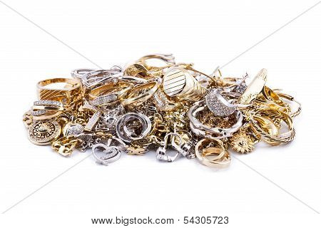 Gold Jewelry On A White Background