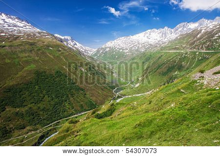 Mountain Road In Swiss Alps, Furkapass, Switzerland