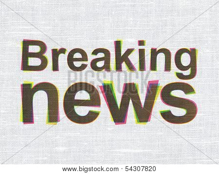 Breaking News on fabric texture background