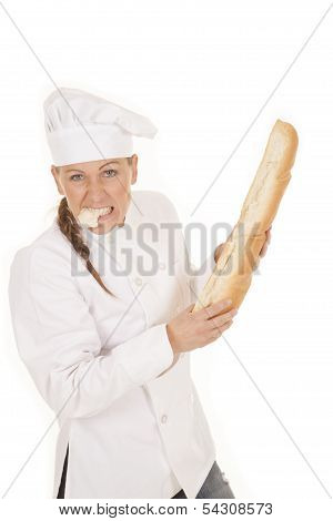 Woman Chef Bread Eat