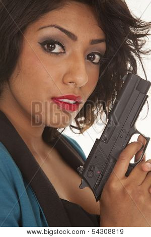 Hispanic Woman Close Gun Look