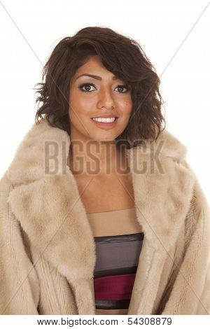 Hispanic Woman Fur Coat Facing Smile