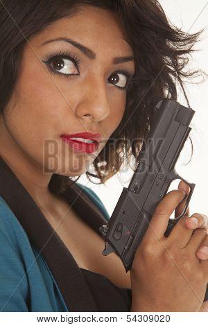 Hispanic Woman Gun Close