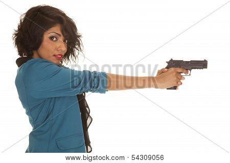 Hispanic Woman Gun Side Look