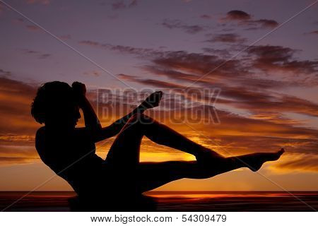 Silhouette Woman Sitting Legs Up