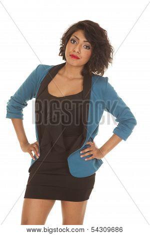 Woman Black Dress Blue Jacket Hands Hips