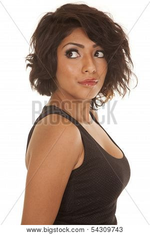 Woman Black Top Side View Look Back